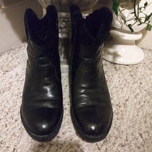 EUC Born Black Fur Lined Cowboy Style Ankle Boot